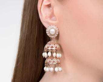 Bambi Jhumki Rose Gold - Handmade Rose Gold Plated Chandelier Earrings with Pearls and Cubic Zirconia - Indian Jewellery - Indian jewelry