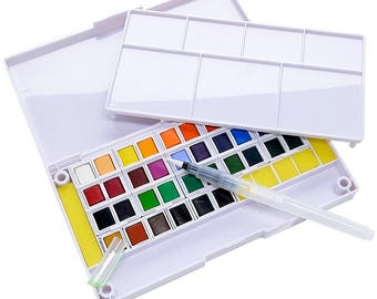 36 Watercolor Paint Set Portable Travel Water Colors Set Includes Water Brushes Sponges Mixing Palette