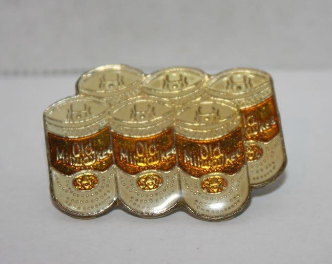 Vintage Old Milwaukee Beer 6-pack old Enamel Pinback button pin hat lapel