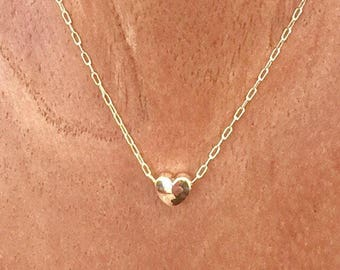 Tiny Gold Heart Necklace, Minimalist Heart Necklace