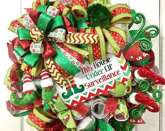 Elf Wreath -  Elf Surveillance Wreath - Elf Decor - Christmas Elf - Christmas Wreath - Front Door Wreath - Holiday Wall Decor - Holiday Elf