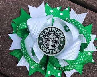 Starbucks bow starbucks birthday starbucks headband starbucks shirt starbucks gift starbucks fan bow hair bow for starbucks coffee lover