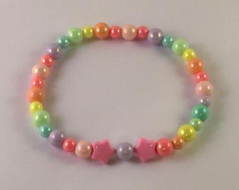 Magical Sweet Lolita Decora Fairy Kei Pastel Raibow and Star Bracelet