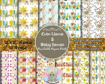 LLAMA DIGITAL PAPER, Llama Clipart, Llama Print, Llama Art, Llamas With Hats, Llama Gifts, Llama Fabric, Digital Paper Commercial Use, Insta