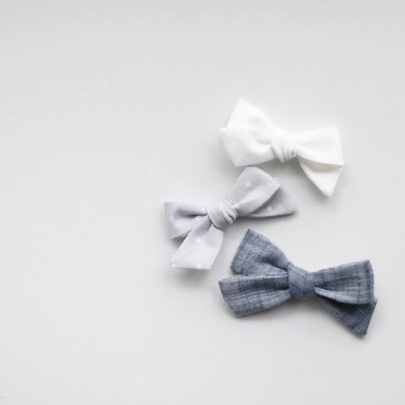 Dandelion>> MINI white grey polka dot greyscale monochrome fabric hand tied hair bows