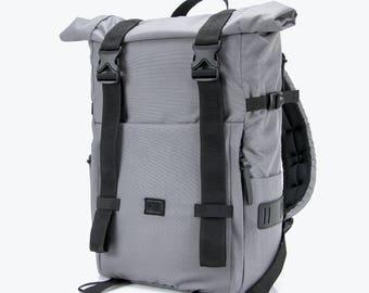 SALE! Gray Rolltop, City Backpack, Backpack For City Travel, Men's Backpack, Gifts For Him, Gifts For Boyfriend, Gift For Men, Eco backpack