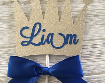 Royal Prince Personalized Name Cake or Centerpiece Topper for Birthdays, Baby Showers, Christenings, Baptisms Royal Blue and Gold