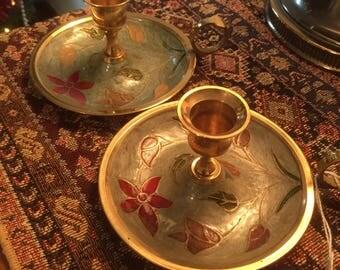 Vintage Cloissone Brass Candlesticks