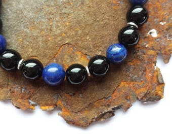 Onyx and Lapis bracelet with 925 silver elements