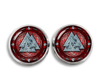 Odins Knot Stud Earrings Valknut Earrings Viking Triangles 12mm Earrings Three triangles