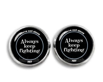 Always keep Fighting Stud Earrings Always keep Fighting  Earrings Supernatural Jewelry Fangirl Fanboy