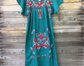 mexican dress - womens - handmade - embroidered - mexico - dress - boho dress - adult - green