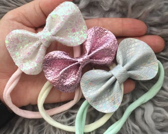 Glitter/Faux leather Hair Bows {Madison}, Glitter Hair Bows, Glitter Bows