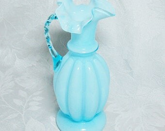 Fenton Blue Overlay Melon Pitcher with Ruffled Rim