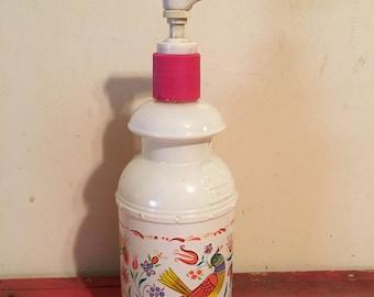 Vintage Avon  colorful birds glass lotion bottle. Soap dispenser, vintage birds, retro bathroom,