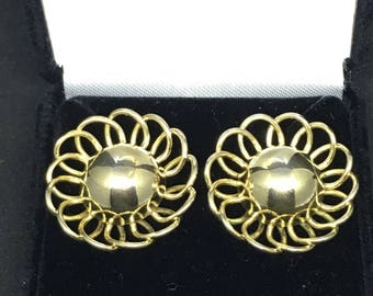 Vintage 1950/60 Over-Sized Gold-Tone Flower Lattice Earrings - converted from clip-on to pierced
