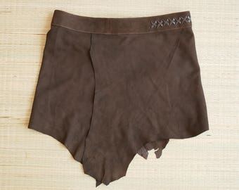 Leather skirt burning man festival, medieval - mid-century brown, festival fashion, ladies skirt,