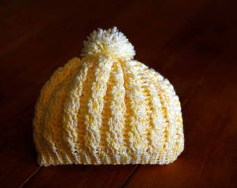 Crochet Cabled Baby Beanie Hat 3-6 months