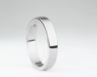 3mm Width Wedding Band Ring-9ct/14ct/18ct White Gold Flat Profile Wedding Band-Gold Men's Wedding Band Ring-Handmade to Order