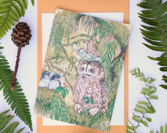 "Gaurdian 5""x7"" Art Cards from Original Watercolor Paintings, owl forest fairies pixies fantasy art nature ferns birds moss children's"