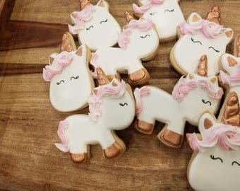 Rose Gold Unicorn Cookies