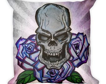 Skull And Roses Square Pillow