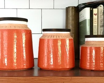 Complete six-piece mid century Bitossi vase / canister set designed by Aldo Londi