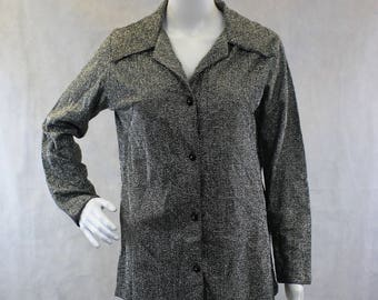 1970s Disco Blouse Metallic Black Knit Button Up with Butterfly Collar  Mylar   Size Small   Tall Cuffs  Party  New Years  Birthday  Sci-fi