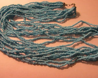 Multi-Strand Mini Sky Blue Glass Beaded Necklace, 28""