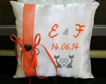 Orange Cat Ribbon pillow