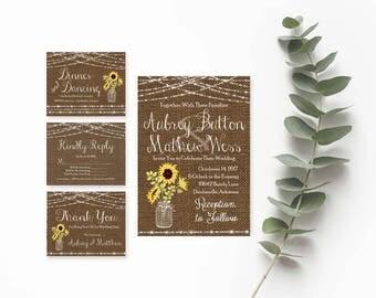 Mason Jar Wedding Invitation Templates- Sunflower Wedding Invitation- Burlap Wedding Invitations- Rustic Wedding Invitation Printable