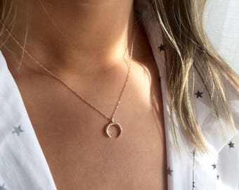 Rose Gold Horn Necklace, Rose Gold Moon Necklace, Horn Necklace, Moon Necklace, Rose Gold Horn, Gold Moon, Gold Horn Necklace, A18A