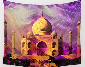 Taj Mahal, Taj Mahal Tapestry, Wall Hanging, Wall Decor, Purple Tapestry, Purple Wall Hanging, Dramatic Tapestry, Monument Tapestry, India