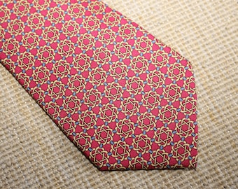 Authentic Hermes 100% Silk Tie - Mint Condition - Red  - Pattern 7122- (Ref 1351b)