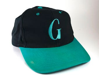 Vintage Turquoise Letter G Adjustable Snapback Dad Hat // 90s Black Baseball Cap