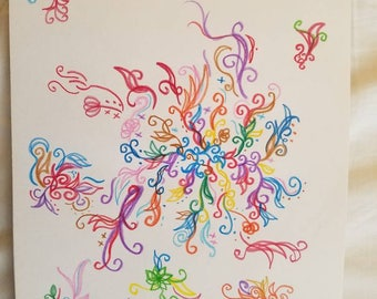Colorful Abstract Drawing of Flowers and Plants