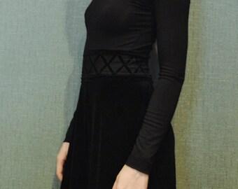 Black velvet victorian handmade maxi dress US 0 - 2