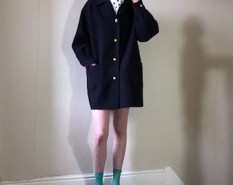 Vintage 1980s Salvatore Ferragamo dark navy blue pure wool nautical boyfriend pea coat jacket coat. Size: M 10/12