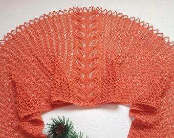 Shawl knit Shawl as a gift Coral shawl Mother's Day Shawl Gift for mom Gift Beauty gift Gift for her Unique gift