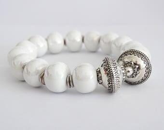"""Olympus bracelet white ceramic Greek Silver 925"