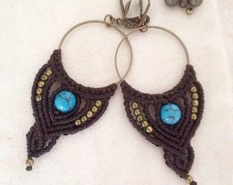 Macrame Creole / hoop / creole ethnic / psytrance / creole stone / macrame rings
