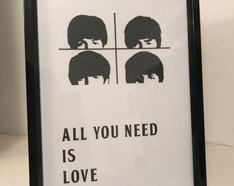 All you need is love, the beatles A4 print, home decore, fan print