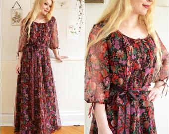 """Vintage dress """"MEADOW"""" - 70s, boho, Maxi dress"""
