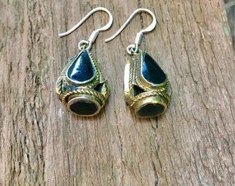 Ethnic tribal earrings, drop earrings, onyx earrings,Afghan jewelry, drop earrings, dangle earrings, ethnic jewelry,black earrings, Sterli