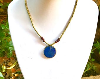 Lapis lazuli tribal necklace, Afghan jewelry, lapis lazuli necklace, pendant necklace, bohemian statement necklace, gemstone necklace