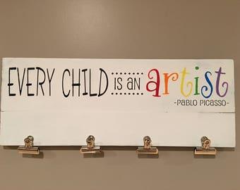 Every child is an Artist, artwork display, artwork hangers, artwork clips, grandchildren art work display, home decor