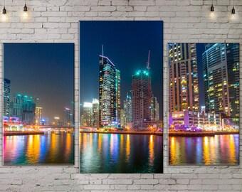 Skyline, Art Print on Canvas, Large Print Wall Art , River,Night City, Canvas Art, Interior Art, Living Room Decor, Extra Large Art