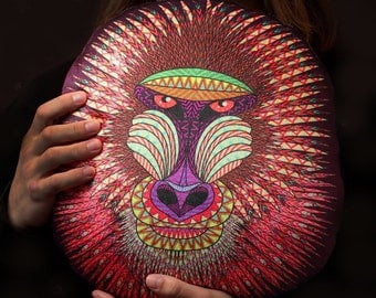 Decorative Pillow Baboon, Home Decor, Living room decor,Decor Pillow, Gift for here