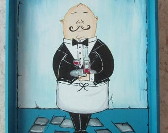 Waiter in Blue Tray