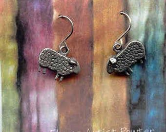Baa Baa wire pewter sheep earrings